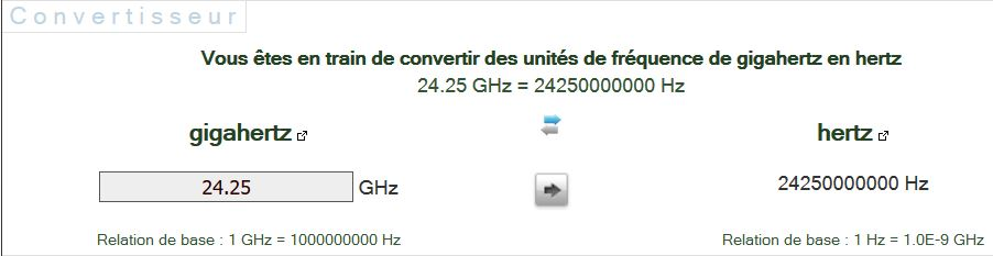 conversion hertz en giga